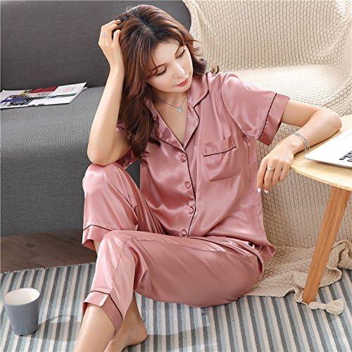 WXIN Pyjamas en Soie à Manches Courtes Pantalons été D'été Costume en Soie M Pate De Haricots Rouges