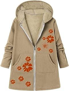 UONQD Plus Size Women Winter Warm Solid Pockets Thicker Zipper Hooded Coat Outwear