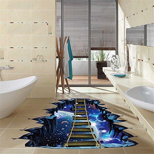 Wandaufkleber Wandtattoos Ronamick 3D Brücken Fußboden Boden/Wandaufkleber Removable Decals Vinyl Art Wohnzimmer Dekore Wandtattoo Wandaufkleber Sticker Wanddeko