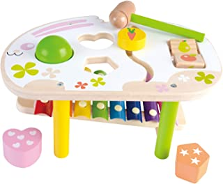WOOKA Pound & Tap Bench with Slide Out Xylophone - Wooden Musical Pounding Toy for Toddlers, Early Learning Educational Set
