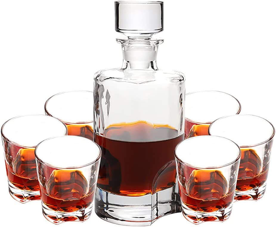 European Whisky Decanter Set Industry No. 1 with Crysta Glasses Design 6 Notch Max 48% OFF