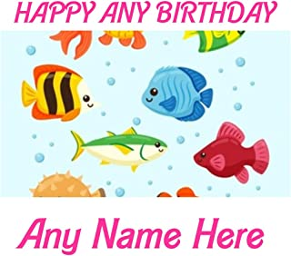 Baking Bling Happy Birthday Kids Fish Pics Cartoon A4 Personalised Name Age Birthday Easy Peel PRE-Cut Edible Icing Cake Topper