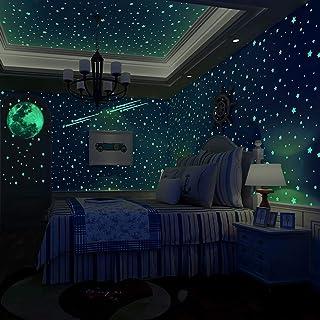 Glow in The Dark Stars, 500 stuks muursterstickers voor plafond en gloed in de donkere stickers, perfect voor kinderbedden...