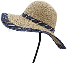 2019 Women Sun Hat, Fashion Summer Women Natural Raffia Straw Sun Hat Girl Wide Brim Dome Bucket Hat Elegant Lady Fedora Cap Sunbonnet Beach Hats (Color : Blue, Size : 56-58CM)