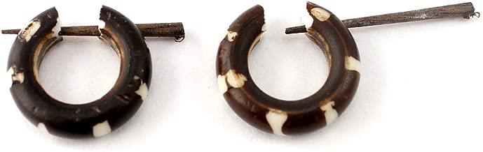 Krishna Mart India a Pair of African Tribal Ebony Handmade Organic Round Shape Wood for Women Girls Ethnic Wooden Earrings Dangle Stick Hoop Fashion Jewelry Hippie Boho Gypsy Coconut Loco sew_287