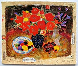 Leos Coffers Wall Art by Alexander Wissotzky Spring Garland Hand Signed Limited Edition Serigraph Print. After The Original Painting or Drawing. Paper 12 Inches X 10 Inches