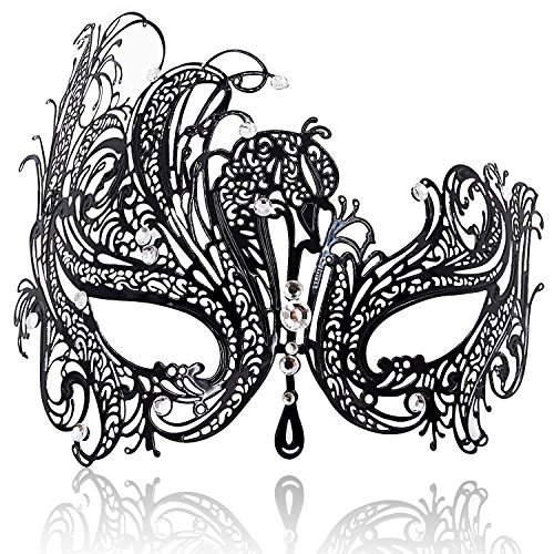 FaceWood Masquerade Mask for Women Ultralight Metal Mask Shiny Rhinestone Venetian Pretty Party Evening Prom Ball Mask.(01)