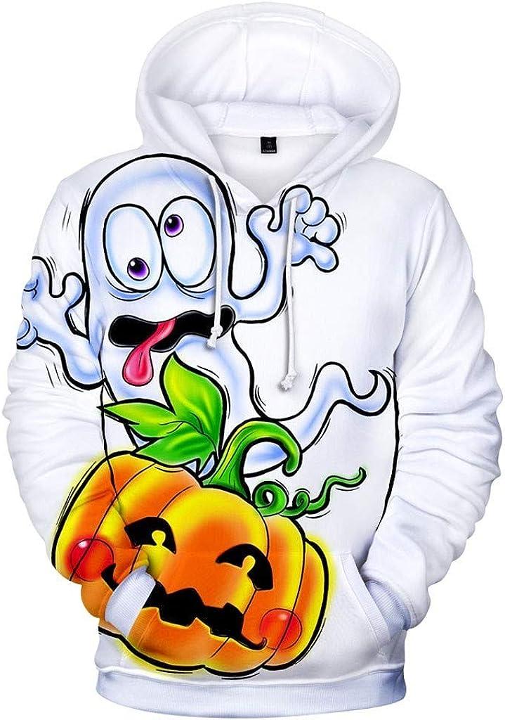 Hoodies for Men Zipper Skull,Forthery Unisex 3D Print Halloween Long Sleeve Novelty Hoodie Pullover Fleece Sweatshirt(Yellow,M)