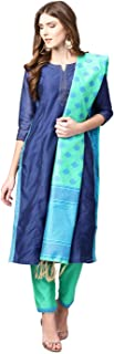 Jaipur Kurti Women Blue & Green Solid Straight Chanderi Kurta With Pant brocade Dupatta