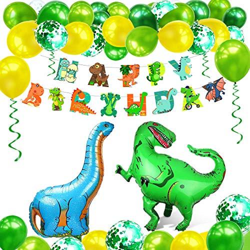 AmzKoi Dinosaurier Geburtstagsdeko, Kindergeburtstag Deko Set, Brontosaurus Tyrannosaurus Dekoration Zubehör, Happy Birthday Party Deko, Girlande für Kinder Jungen Grün und Gelb Luftballons