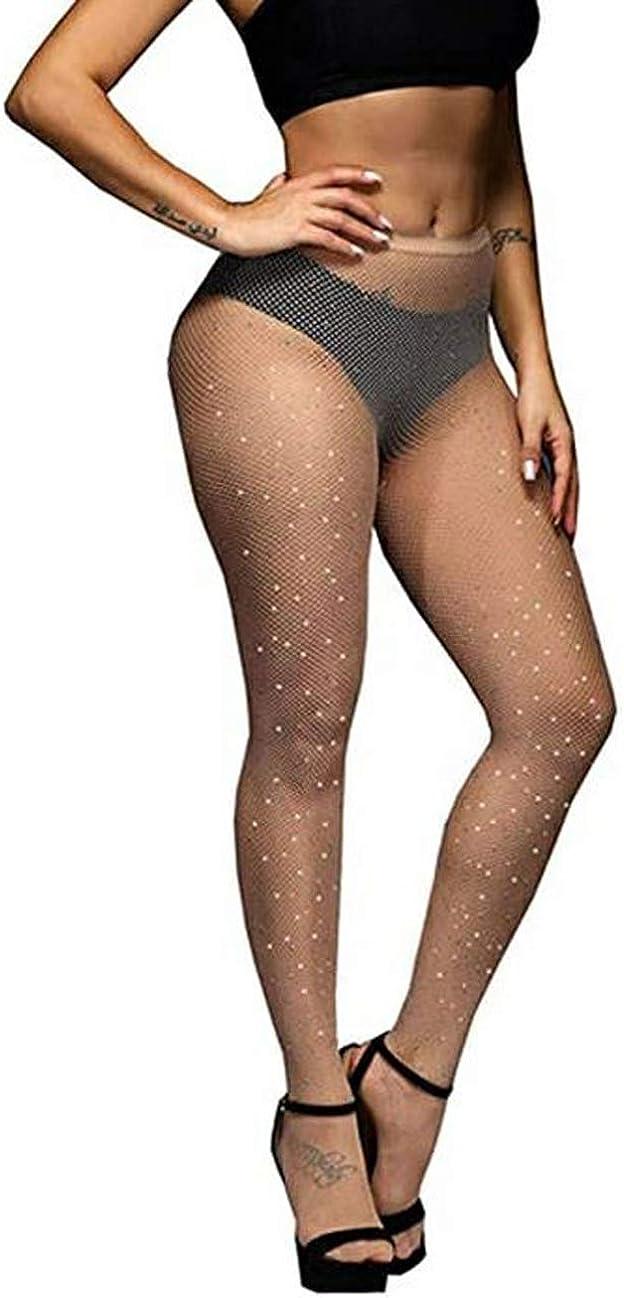 Women's Sexy Sparkle Stockings High Waist Tights Fishnet Rhinestone Stockings Thigh High Stockings Shiny Pantyhose