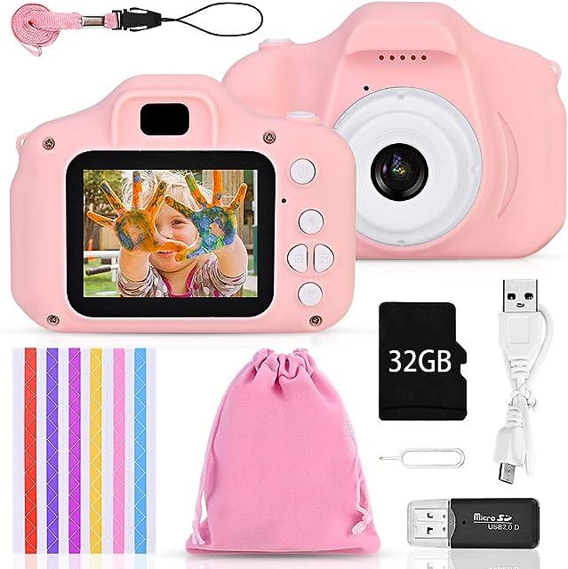 Faburo Set de Cámara de Fotos Digital para Niños Cámara Infantil con Tarjeta de Memoria Micro SD 32GB Cámara Digital Video Cámara Infantil para Niños Regalos deCumpleaños 1080P Rosa
