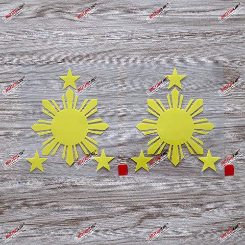 2X Yellow 4'' Sun Star Philippines Flag Decal Sticker Car Vinyl Filipino