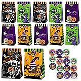CHEPL Halloween Papiertüten 12 Stück Halloween Candy Taschen Geschenktüten mit Halloween Aufkleber für Halloween Party Dekorationen