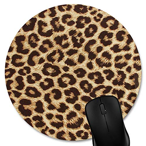 Knseva Leopard Grain Print Round Mouse Pad Custom, Non-Slip Rubber Comfortable Customized Circular Mouse Pads for Work Computer
