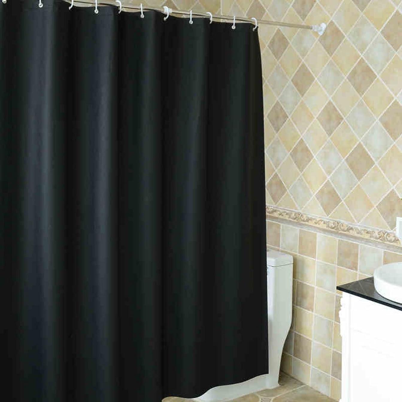 勧める優れた征服者EISOON シャワーカーテン 簡約 黒 お風呂バスルームのカーテン PEVA製 プラス厚 浴室 洗面所等間仕切り 目隠し用 240*200