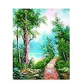 JHGJHK Arte Paisaje Pintura al óleo Árbol Grande Planta Pintura de Paisaje Sala de Estar Dormitorio Decoración Pintura (Imagen 19)