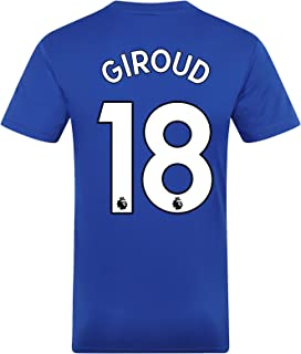 Chelsea FC Mens Giroud 18 Poly Training Kit T-Shirt Royal White Stripe XXL
