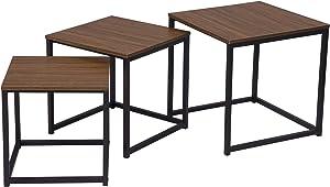 eSituro Tavolino da caffè Set di 3 Pezzi in MDF Venatura di Legno Scuro SCD0072