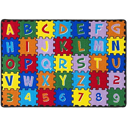 Mybecca Kids Rug ABC Puzzle Area Rug Educational Alphabet Letter & Numbers 8 x 11-Non Slip Gel Backing Size approximate: 7' feet 2' inch by 10' ft (7'2' X 10')