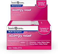 Basic Care Allergy Relief, Diphenhydramine HCl Tablets 25 mg, Antihistamine, 100 Count