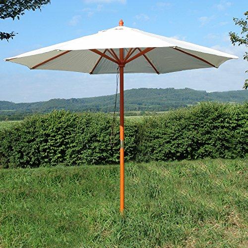 Holz-Sonnenschirm 2,80m weiß-beige