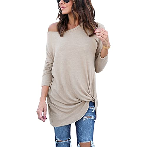 ccbad3c63fab3 Lookbook Store Women s Casual Soft Long Sleeves Knot Side Twist Knit Blouse  Top