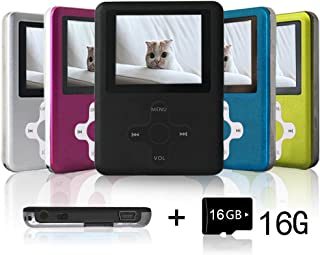 Lecmal Portable MP3 Player MP4 Player with 16Gb Micro SD Card and FM Radio, Multi-Function Music Player with Mini USB Port, Mp3 Recorder, Media Player for Children-Blcak