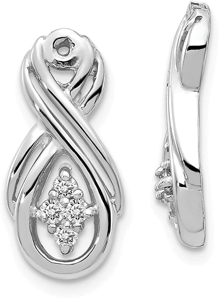 Solid 14k White Gold Infinity Love Knot Symbol White Diamond Earring Jackets Mountings - 18mm x 8mm
