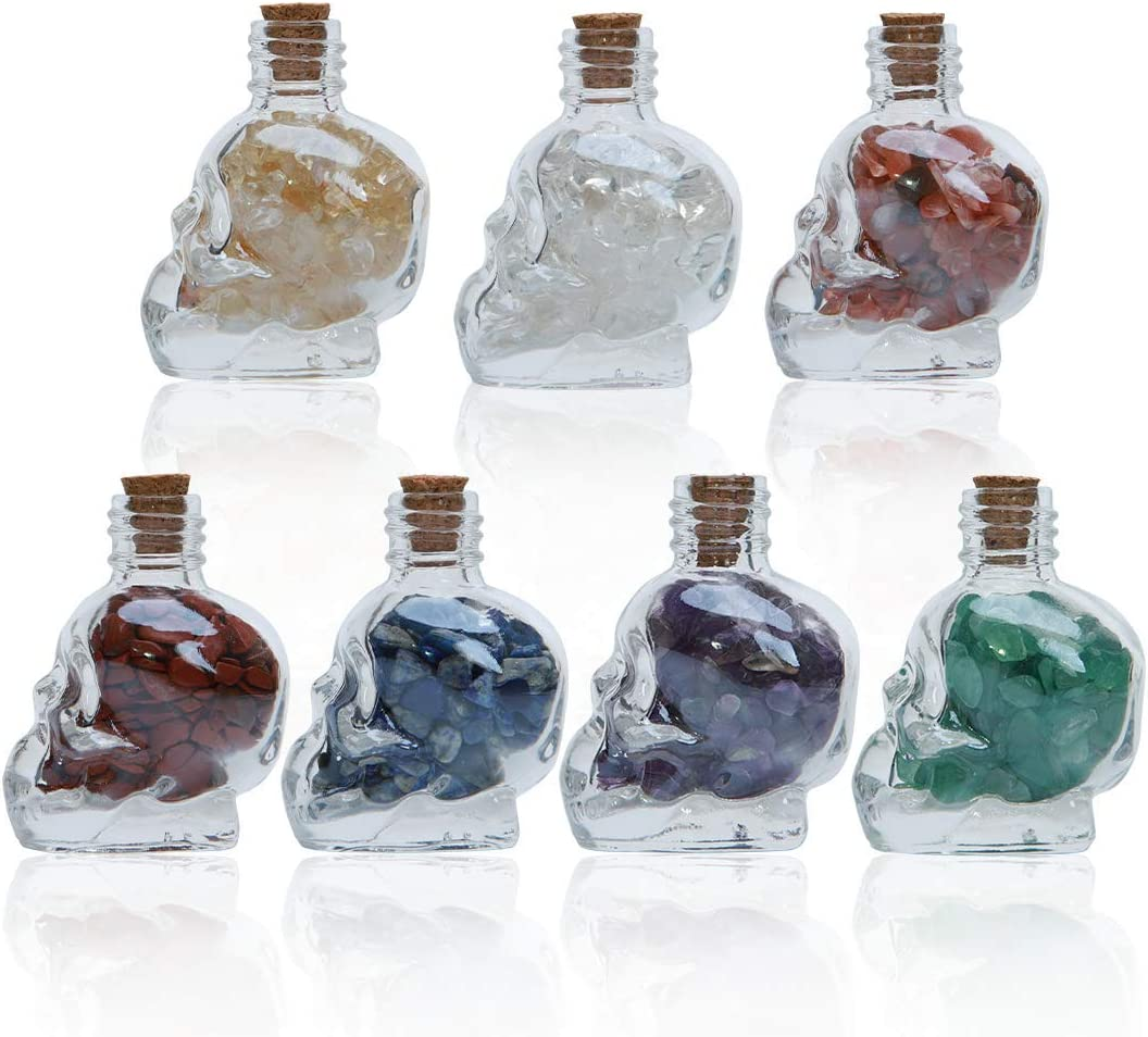 soulnioi 7/ Pcs Chakra Healing Crystals Set, with Skull Bottle, Crystals for Witchcraft, Witchy Gifts with Handmade Wooden Box