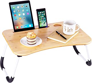 ZHU CHUANG Multifunctional Lap Desk Breakfast Serving Bed Tray Sofa Tray with Foldable Legs Natural Color 100% Solid Bambo...