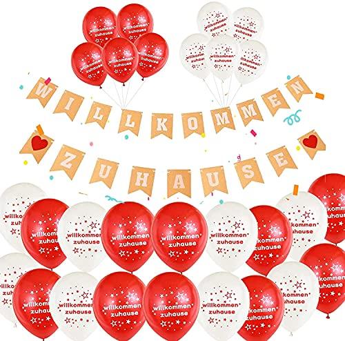 30 Stück 21 Zoll Premium Luftballons,Willkommen zu Hause Luftballons,Willkommen Zuhause Banner,Herzlich Girlande für Familie Party