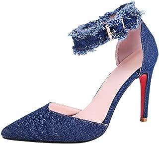 DENER Women Ladies Girls Summer High Heels Sandals,Denim Pointed Toe Wide Width Thin Stilettos Pumps