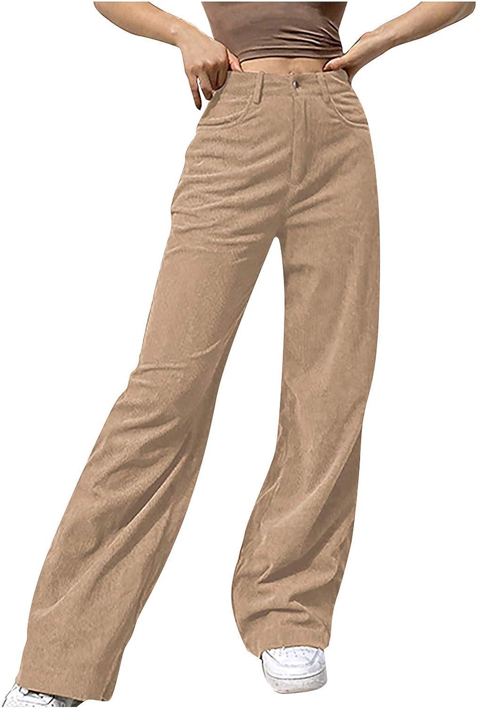 WUAI-Women High Waist Straight Leg Corduroy Pants Vintage Elastic Waist Casual Baggy Jogger Sweatpants Streetwear