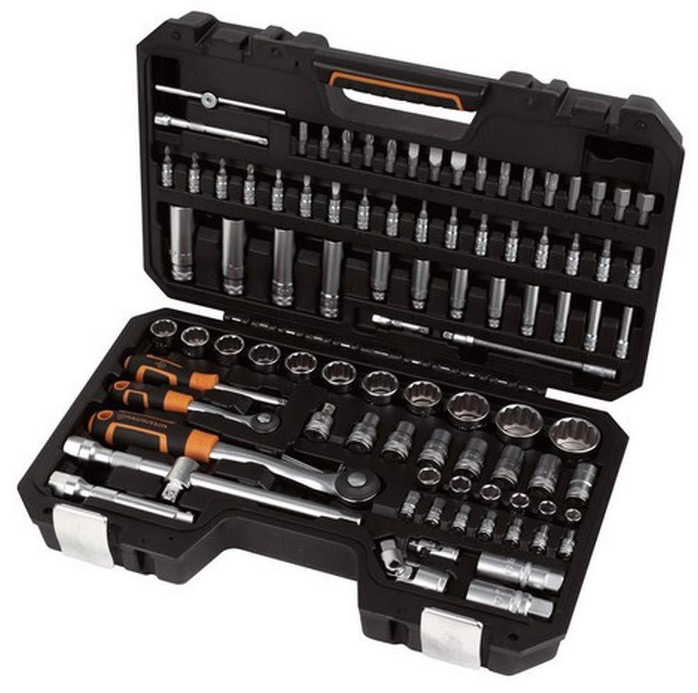 Magnusson - Maletín de herramientas (92 piezas y 2 llaves de trinquete y puntas destornilladoras profesionales, vanadio): Amazon.es: Bricolaje y herramientas