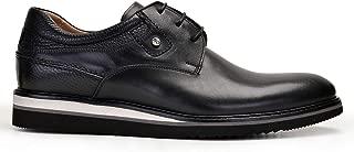 0245-530 GOK001-Antik Siyah 201 - Floter Siyah 701 Nevzat Onay Bağcıklı Siyah Günlük Deri Erkek Ayakkabı