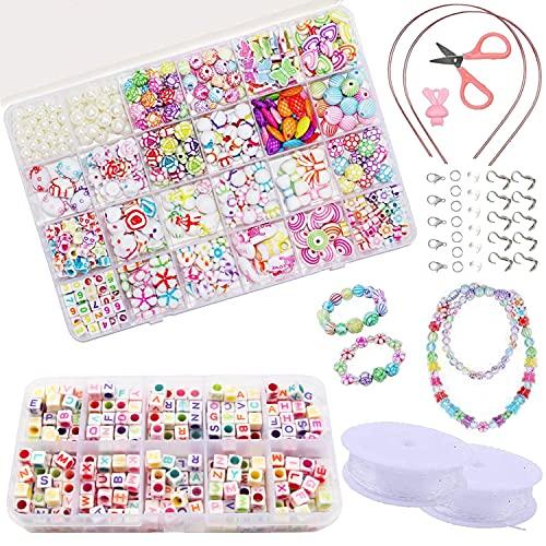 ZFYQ Bambini Perline, Perline Colorate dei Bambini Fare Gioielli Braccialetti Necklace Kit Perline Lettere per Ragazze