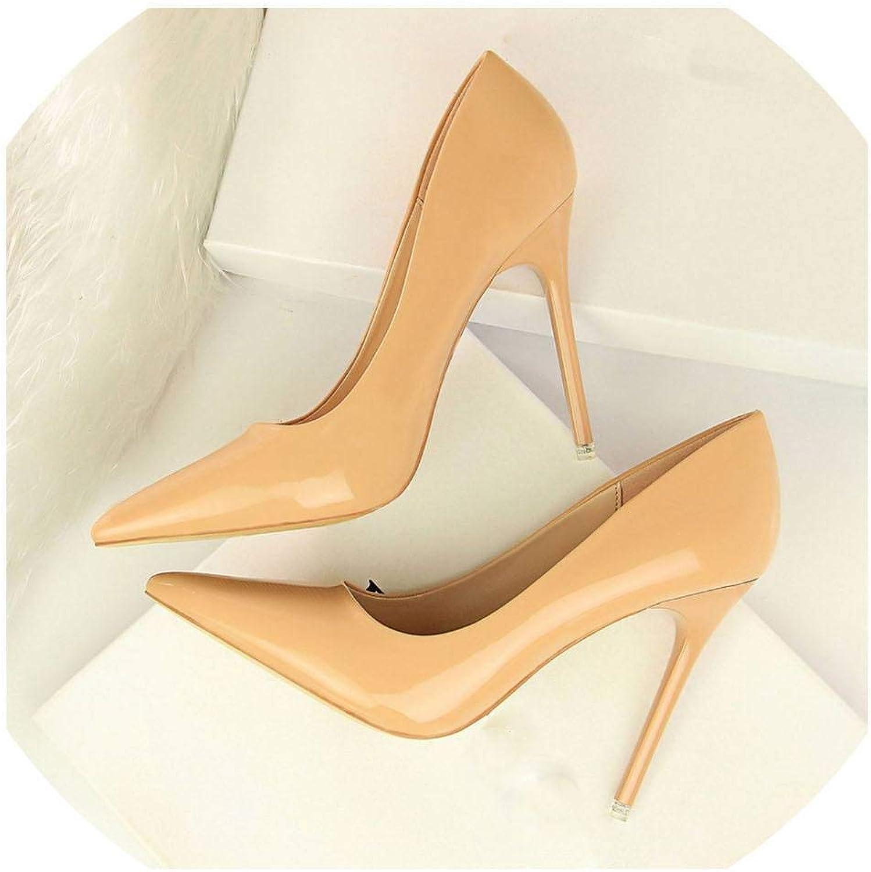 Lin-House Classic Women Pumps Patent Leather High Heels shoes Women Fashion Stiletto 10.5cm