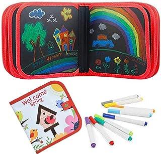 Afufu Livre Ardoise Magique, Cahier de Coloriage Effacable Livre de Dessin Pliable, Jeu Montessori Bebe Planche à Dessin E...