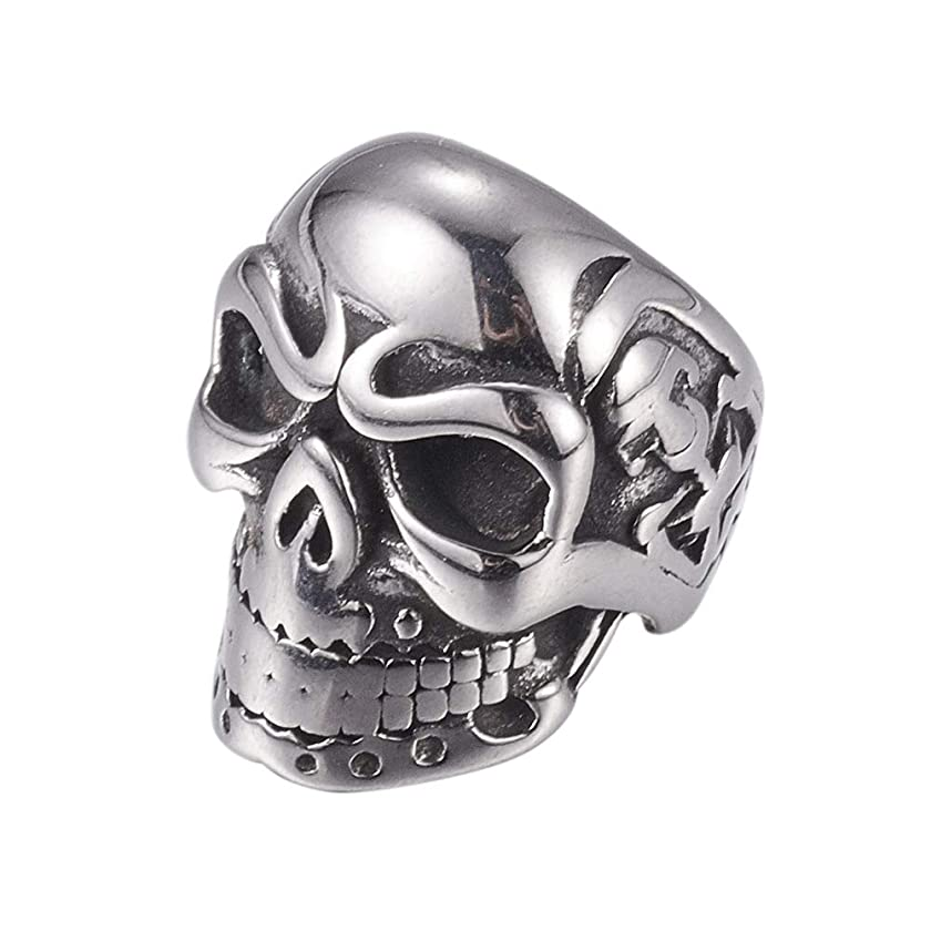PH PandaHall 10pcs 8mm Stainless Steel Skull Spacer Beads Metal Large Hole Beads Antique Silver European Beads Charms Findings for Necklace Bracelets Earrings Jewelry Making