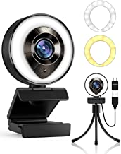 2021 Petocase HD 1080P Webcam with Microphone,Ring Light,Plug and Play,Adjustable Brightness,Advanced Auto-Focus,Privacy P...