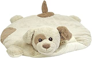 Bearington Baby Lil' Spot Belly Blanket, Beige Puppy Dog Plush Stuffed Animal Tummy Time Play Mat