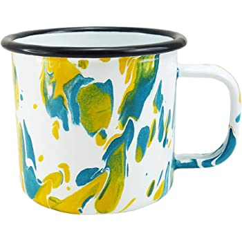 AIPOKE Enamel Mug Tri-Colored Artistic Coffee Tea Beverage Cup 13oz, Yellow+Lake Blue