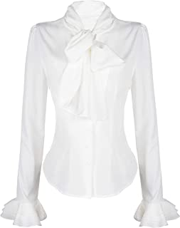 Women 50's Retro Silky Bow Tie Shirts Ruffle Victoria Blouse Tops