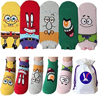 SpongeBob SquarePants Character Ankle Socks with Pouch Pack of 5 pairs - Mr. Krabs Patrick Star Plankton Squidward Tentacles