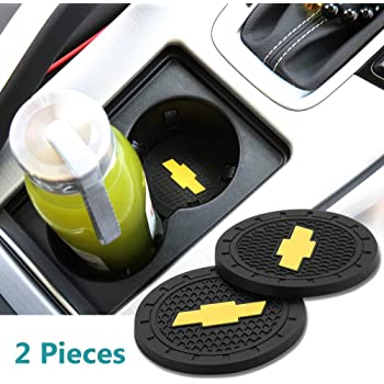 Wall Stickz Auto Sport 2.75 Inch Diameter Oval Tough Car Logo Vehicle Travel Auto Cup Holder Insert Coaster Can 2 Pcs Pack Fit Chevrolet Accessories