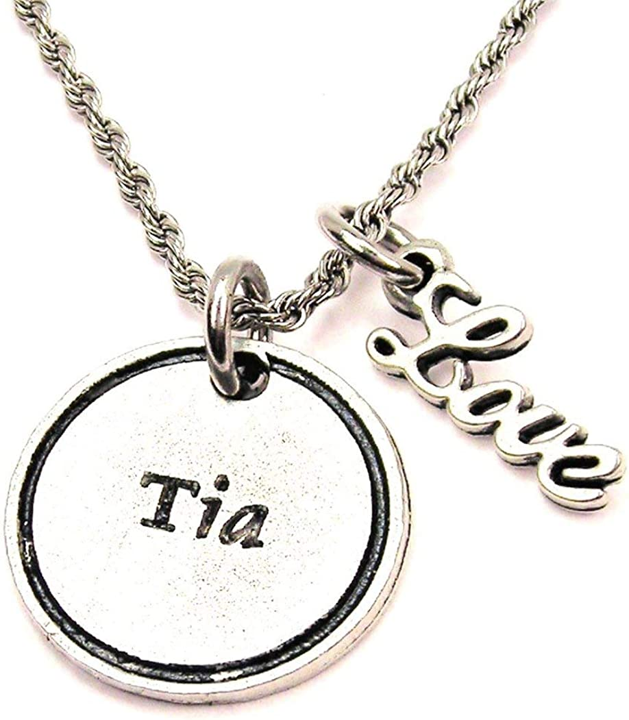 ChubbyChicoCharms Tia Stainless Steel Rope Chain Cursive Love Necklace