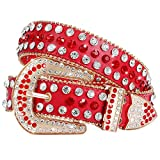 Rhinestone Studded Western Leather Belt - Women Ladies Vintage Cowgirl Bling Design Waist Belts for Pants Jeans Dresses (05-Red, Fit pant 29-33 inch)