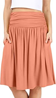 Womens Regular and Plus Size Skirt with Pockets Knee Length Ruched Flowy Skirt - Made in USA