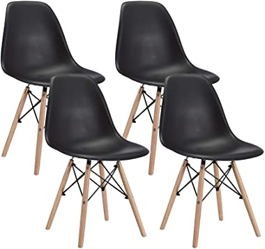 CangLong Modern Mid-Century Shell Lounge Plastic DSW Natural Wooden Legs for Kitchen, Dining, Bedroom, Living Room Side Chair